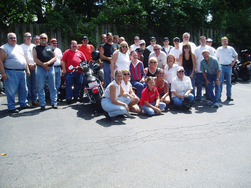 Group shot of Free Riders before motorcycle escort to Cincy airport.