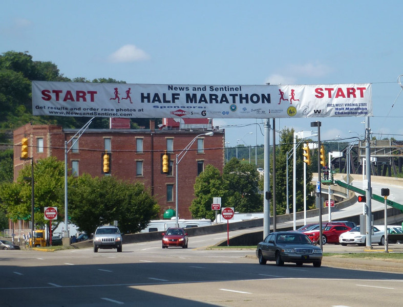 Start line for the half marathon; heading east on Market Street