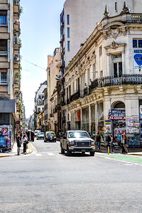 Looking accross Av Rivadavia down Montevideo. Street names change when crossing Av Rivadavia.