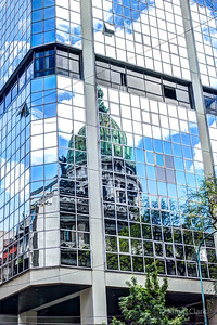 A reflection of Palacio del Congreso de la Nacion