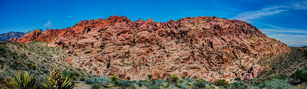 A sense of scale - inside the red circle is a group of hikers. Red Rock Canyon National Conservation Area, Las Vegas, NV