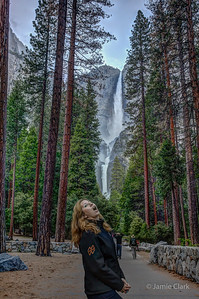 Julia stops for a drink. Yosemite Falls. Yosemite National Park