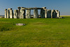 From inside the fence Stonehenge can be seen with one of the Slaughter Stone visible in the foreground. Originally thought to be used for the ritual sacrifice of virgins to welcome the summer solstice, it is now known that it is just an ex-standing stone that once stood as part of the entrance.