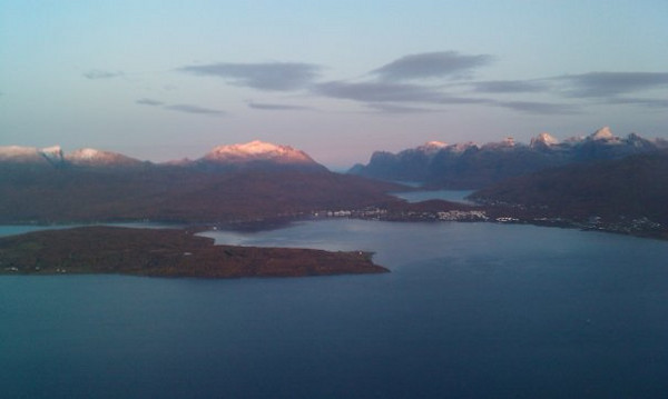 From the plane, leaving Tromso (from my phone's camera). This was the nicest day the entire time I was there.
