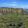 Panoramic view of the Rano Kao volcanic crater at Easter Island (Rapa Nui). With pacific ocean in background.