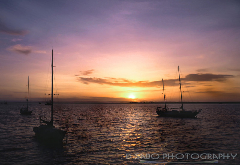 """BVI Harbor""  Sailboats at twlight in the British Virgin Islands"