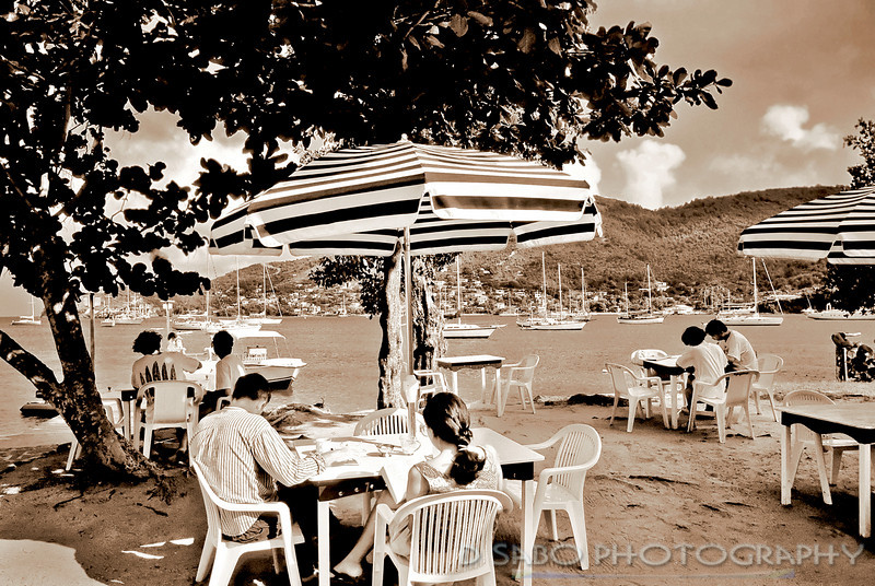"""""""Downtime""""  Morning coffee and a little R& R along the breakwater of Admiralty Bay, Bequia, St. Vincent and the Grenadines, West Indies"""