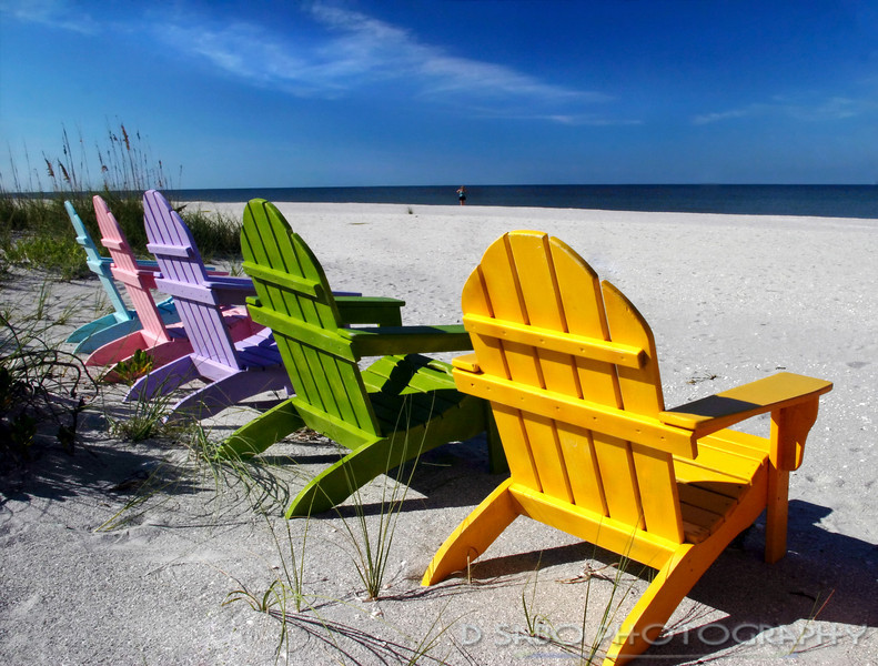 """Captiva Colors""  Colorful adirondack lounge chairs on Captiva Island, Florida with the Gulf of Mexico in the background"