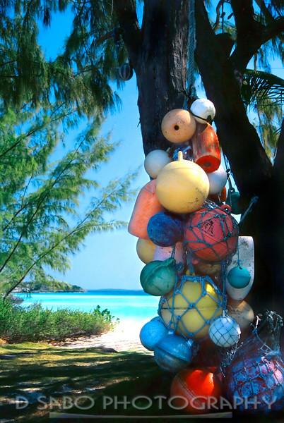 """Bahama Buoys""  Colorful buoys on a  Bahamaian out island"