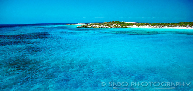 """Bahama Blue""  Different hues of blue are the focal point with this outer caye in the Exuma Island chain"