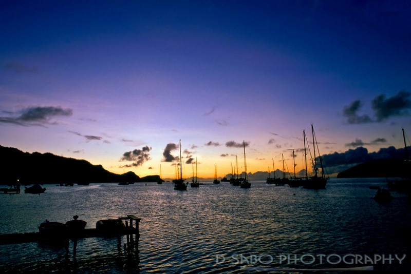 """Admiralty Bay at sunset""   Admiralty Bay on the leeward side of the island Bequia has always been a sailor's paradise and up until the mid 1990's was only accessible by boat."