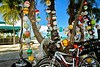 "Florida Keys Transport"" Colorful strings of buoys and bicycle in a tropical serene setting in the lower Florida Keys"