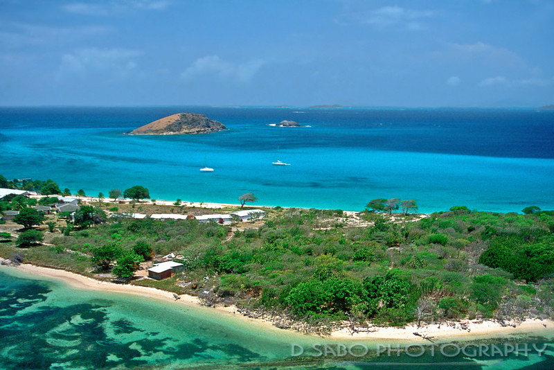 """Caribbean Paradise""  Aerial image of one of the Southern Grenadine islands, St. Vincent, Windward Isles"