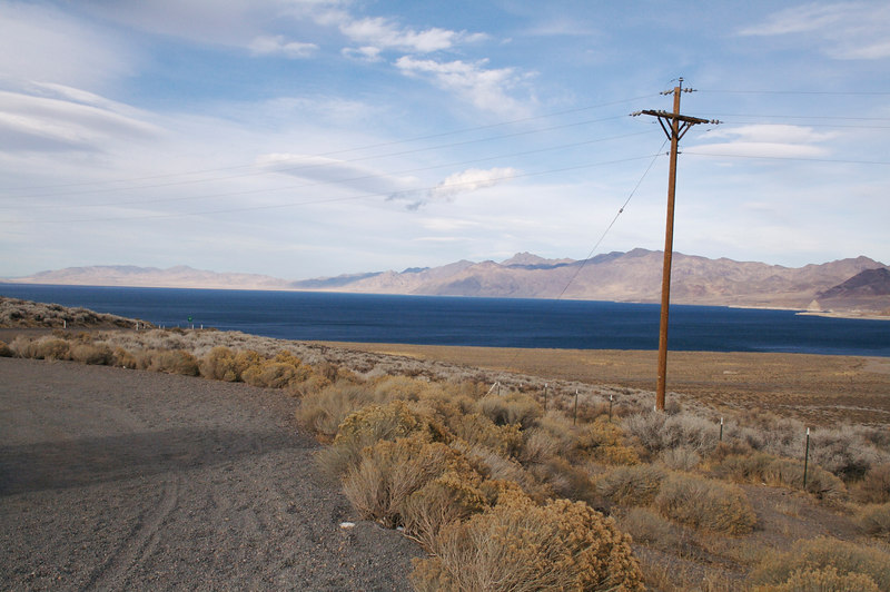 Pyramid Lake, NV is the terminus of the Truckee River, which is the outlet for Lake Tahoe.  Since Pyramid Lake has no outlet of its own, it is salty.