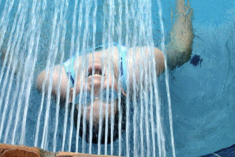 Leann under the fountain
