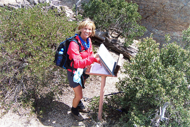 Sooz with the register just below the summit. It was a short class 3 climb to the actual peak.