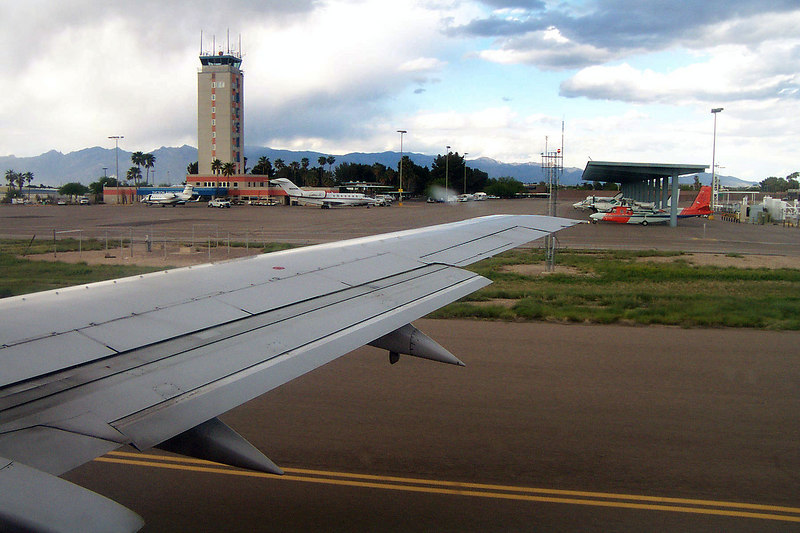 Off the ground, leaving Tucson.