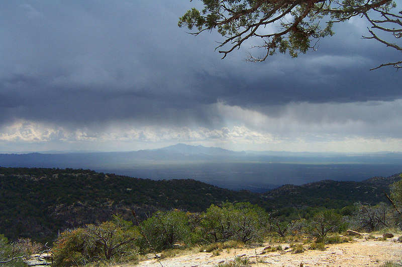 This is the view about a mile from the peak. A lot of rain falling up ahead.