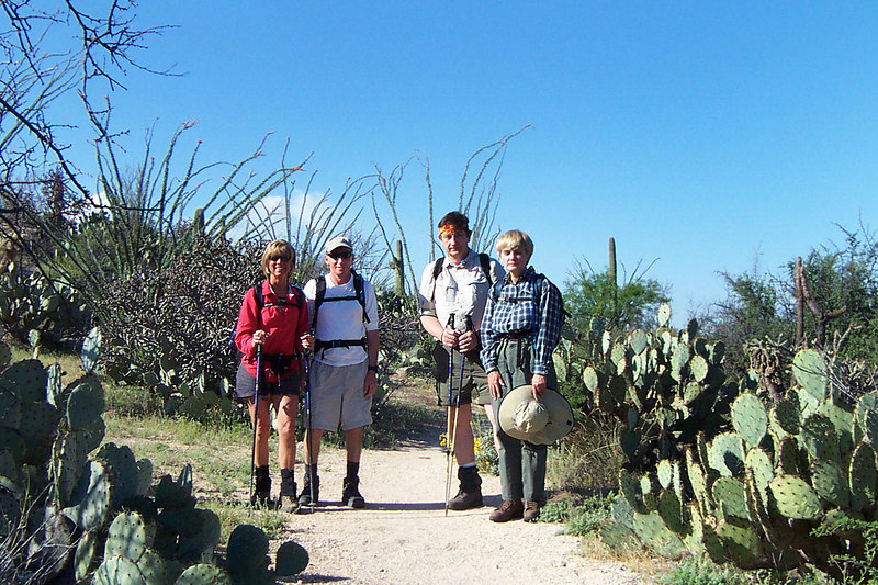 Saturday morning. Sooz, Joe(me), Shawn and Joyce. We will be hiking up the Tanque Verde Ridge Trail 9 miles to the summit of Tanque Verde Peak.