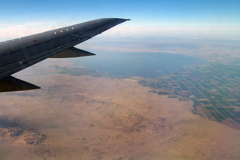 The Salton Sea with farms to the south of it. The flight is almost over, hate to have this trip end.