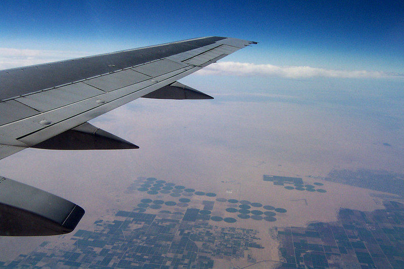 Farms in the desert. I got the window seat on the way. My eyes were glued to the window for most of the hour and five minute flight.