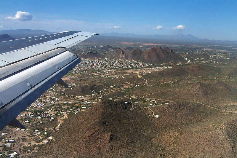 On final approach as the edge of Tucson appears. Soon we will be on the ground.
