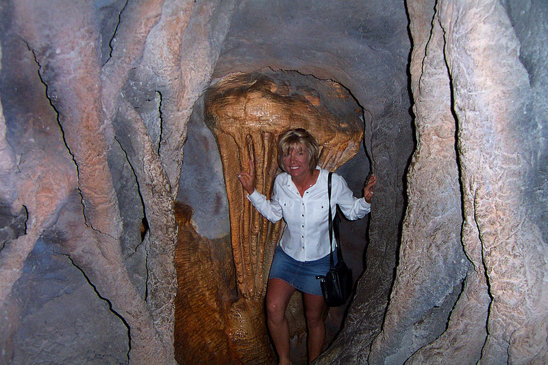 Sooz making her way though the artificial cave. It was about fifty feet long, dark and narrow. Looked real, they did a great job making it. There was even a chamber with water flowing, fun stuff. In this area there were also a lot of rock and mineral displays.