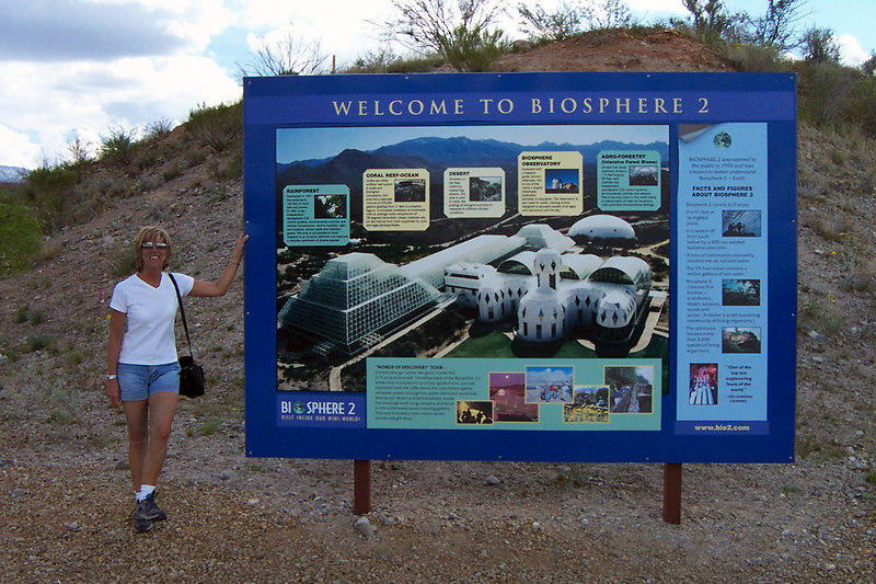 One of the first things we did was check out Biosphere 2. This is the sign at it's entrance.