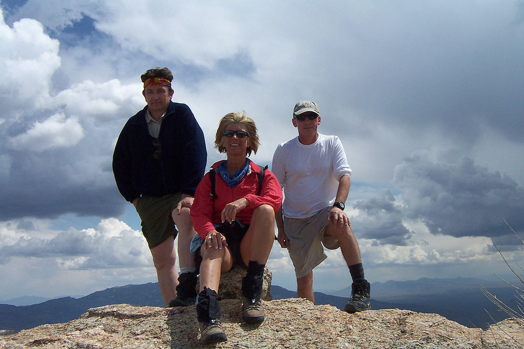 Group shot on the summit of Tanque Verde Peak 6,750'. We started to hear thunder while on the peak. Time to get down.