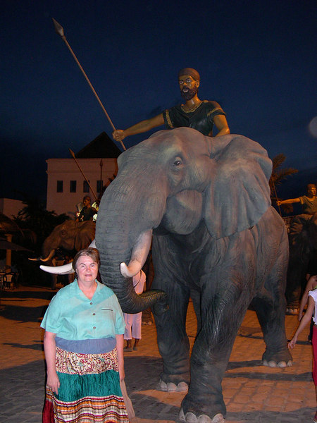 Our hotel was in Hammamet, a tourist town about one hour south of Tunis.  They had converted the Souk (the old bazaar) into a very nice restaurant and shopping area.  This replica of a Carthaginian soldier and his elephant were at the entrance.