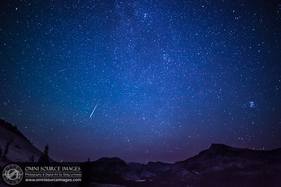 The Perseid Meteor Shower over the Sierra Nevada landscape - Tuolumne Meadows, Yosemite National Park.
