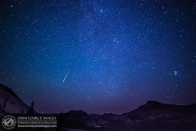 The Perseid Meteor Shower over the Sierra Nevada landscape - Tuolumne Meadows, Yosemite National Park.
