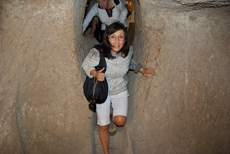 Rosalind in Passageway of Kaymakli Underground City, Cappadocia