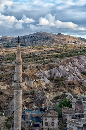 Uchisar, Cappadocia region, Turkey with minaret