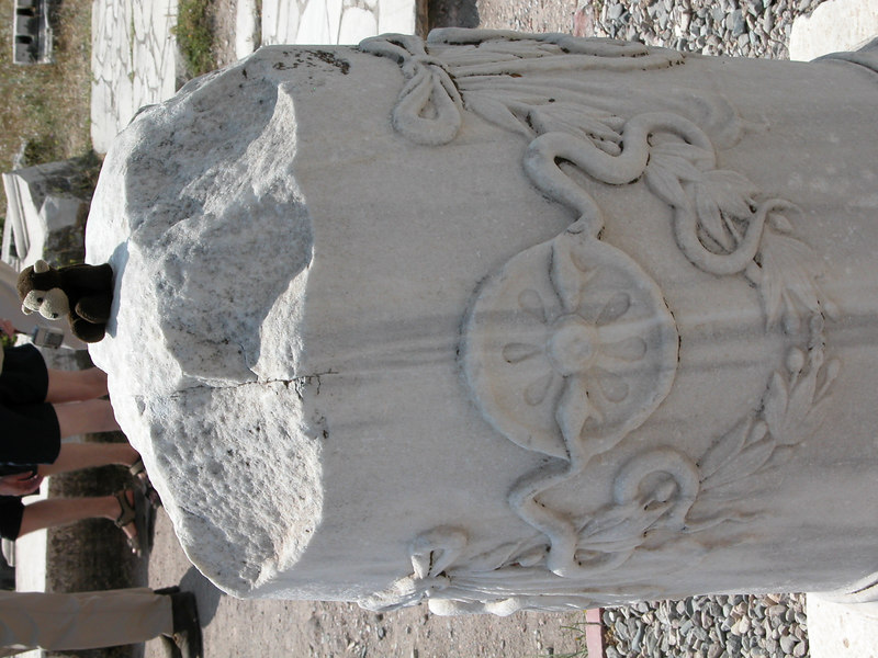 Asclepius themed column base