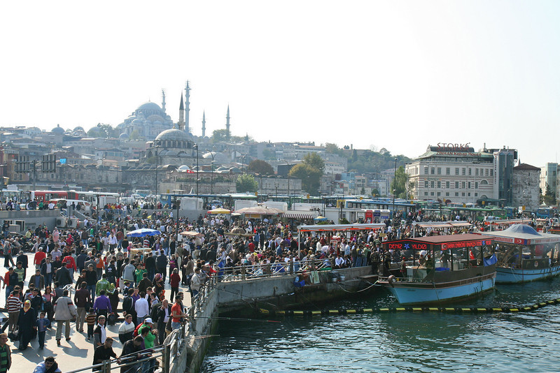 End of Ramadan celebration at the Galata Bridge