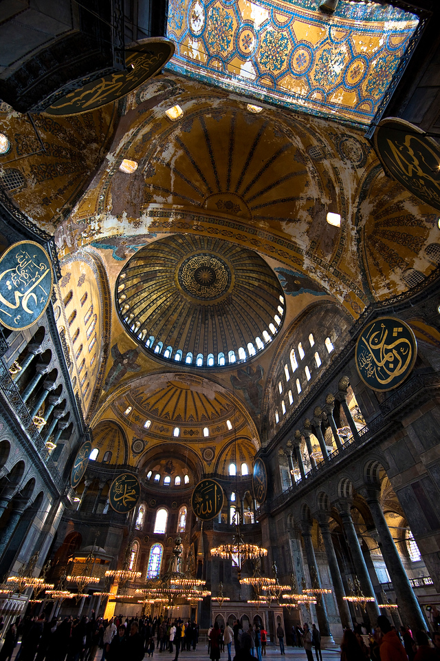 Interior of Hagia Sophia. One can see imagery from two world religions.