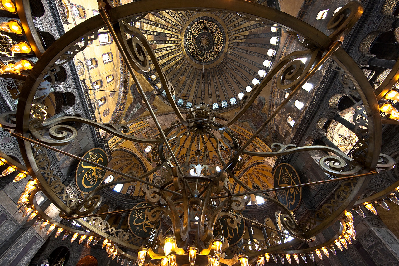 One of the great chandeliers in the Hagia Sophia, which was first a Christian church (and the largest building in the world at the time), then a mosque, and now a museum.