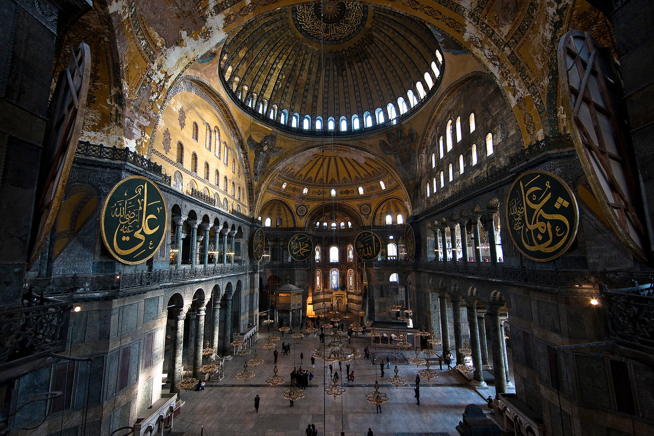 Inside Hagia Sophia. A view from the balcony.