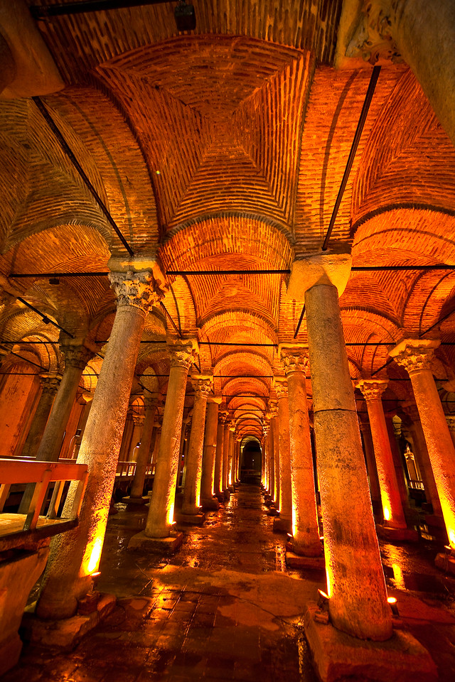 Basilica Cistern, the largest of several hundred underground cisterns in Constantinople. It was really dark in here. Istanbul is another of those cities that is not exactly tripod-friendly. I carried that thing around all day, every day we were there, but I might have left it at home for all the good it did me. This shot was taken by steadying the camera on top of a sign.
