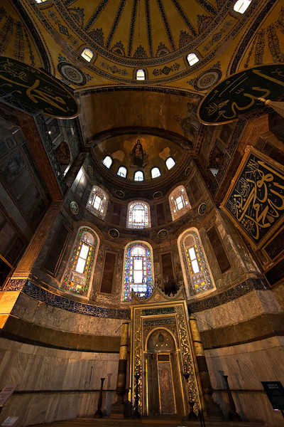 A view of the patriarchal throne in Hagia Sophia.