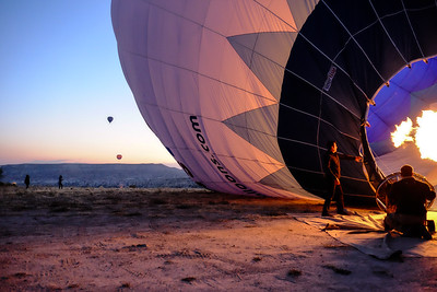 Filling with hot air...