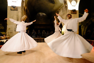 Viewing a Whirling Dervishes Ceremony - at the Saruhan Carevanserai - Cappadocia, Turkey.