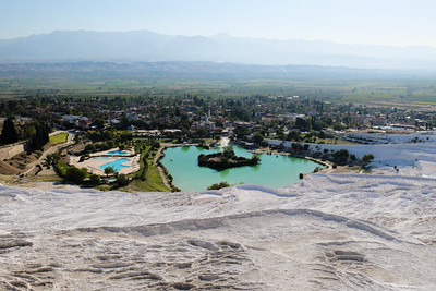 Overlooking the lake and town of Pamukkale