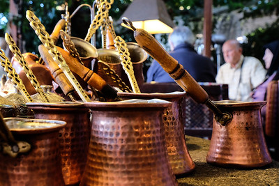 Copper brewing pots.