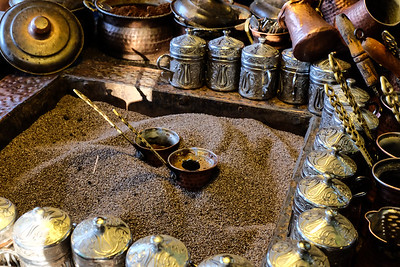 Turkish coffee brewing in sand.