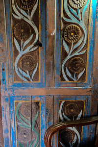 Colorful hand carved door panels.