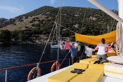 Cruising from Ekincik Bay to Aga Limani to start our hike. Turkey.