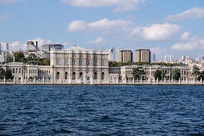 Dolmabahçe Palace sits on the European coastline of the Bosphorus strait.