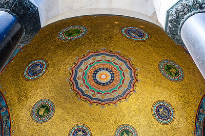 The German Fountain dome's golden mosaic interior.